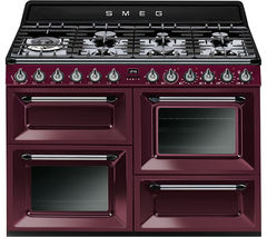 SMEG TR4110RW1 110 cm Dual Fuel Range Cooker - Red Wine, Black & Stainless Steel