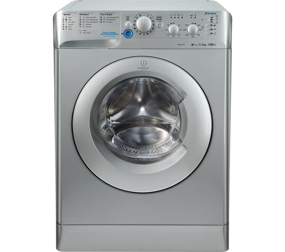 Image of INDESIT XWSC61252S Washing Machine - Silver, Silver