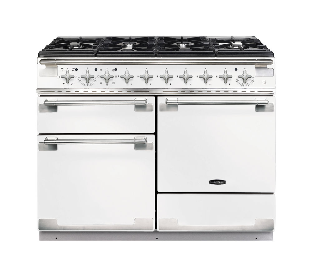 RANGEMASTER Elise 110 Dual Fuel Range Cooker - White & Chrome