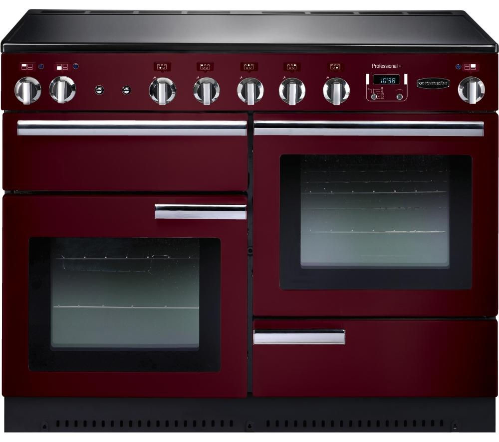 RANGEMASTER  Professional 110 Electric Induction Range Cooker  Cranberry & Chrome Cranberry