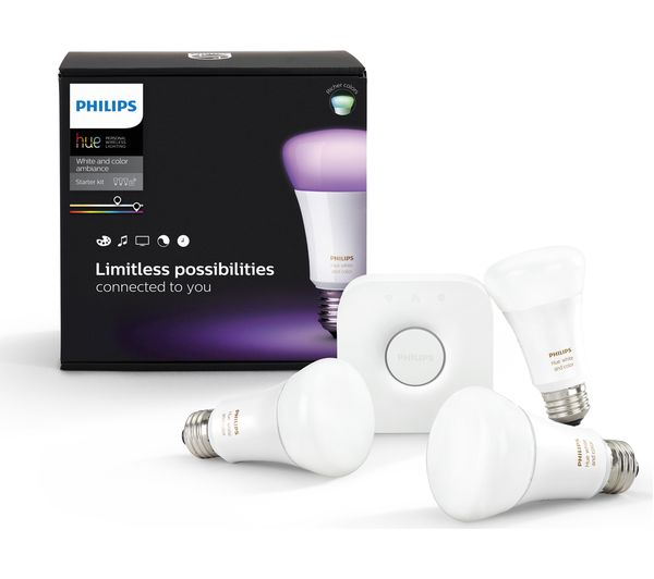 buy philips hue colour wireless bulbs starter kit e27. Black Bedroom Furniture Sets. Home Design Ideas