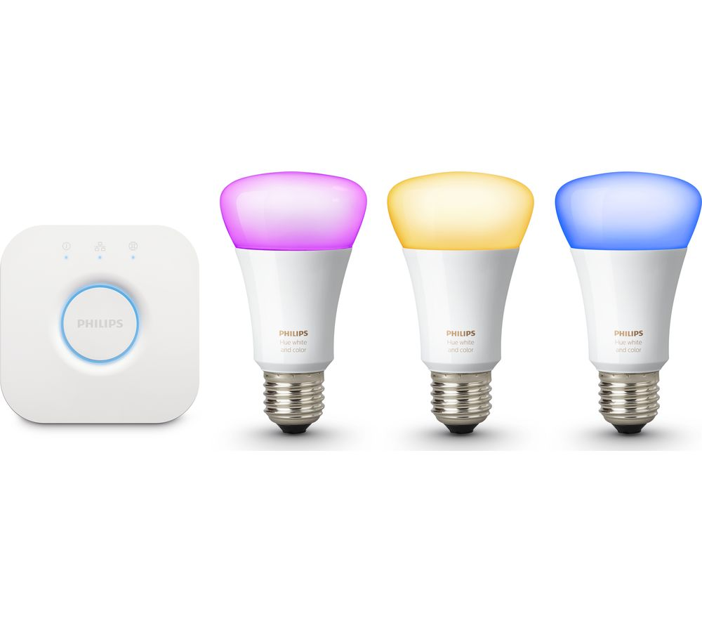 Buy philips hue colour wireless bulbs starter kit e27 - Philips hue starter kit ...