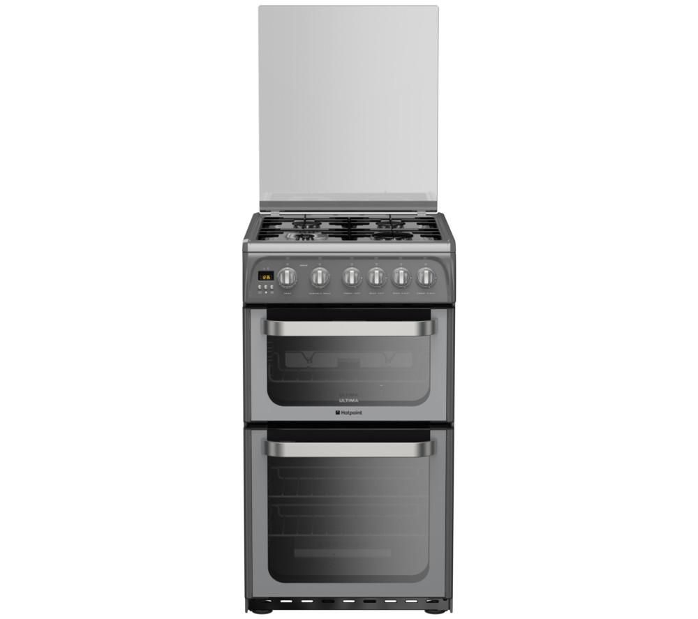 HOTPOINT Ultima HUG52G 50 cm Gas Cooker - Graphite & Stainless Steel