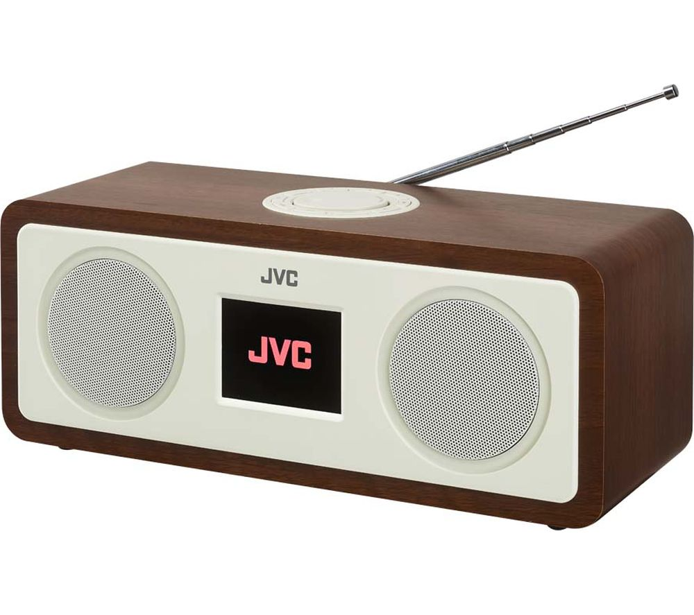 jvc ra d77m dab fm bluetooth clock radio wood cream deals pc world. Black Bedroom Furniture Sets. Home Design Ideas