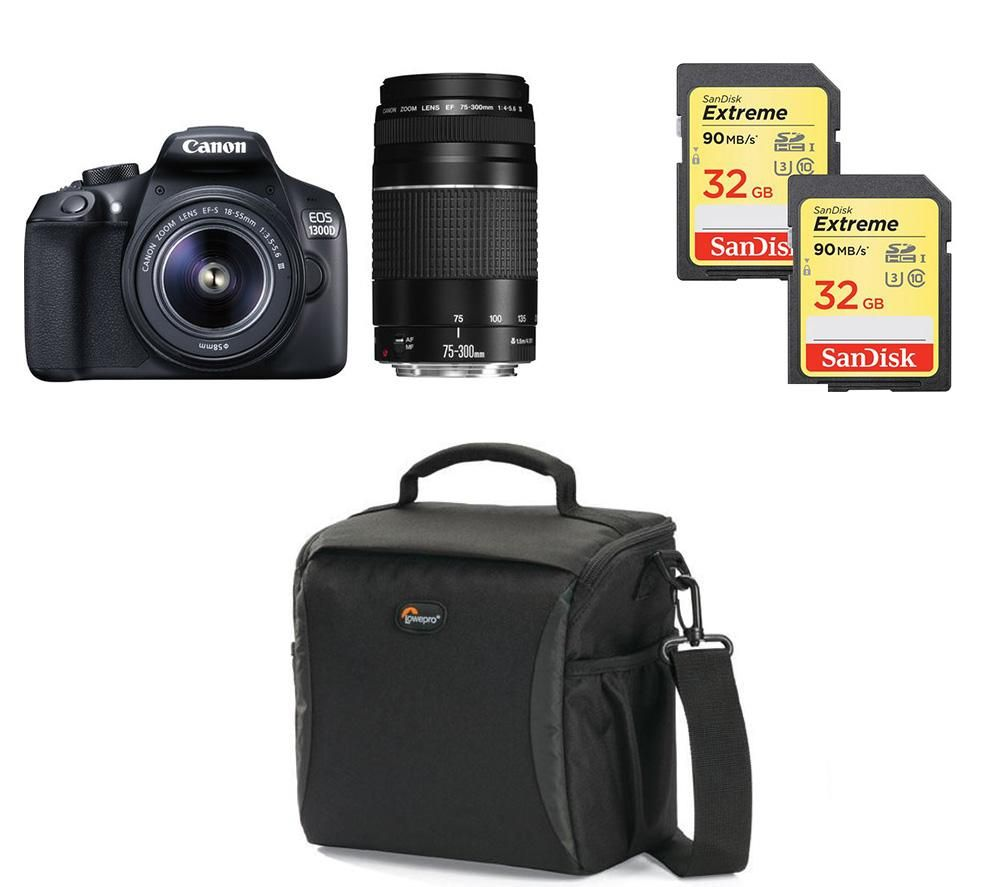 Image of CANON EOS 1300D DSLR Camera, Twin Lenses & Accessories Bundle
