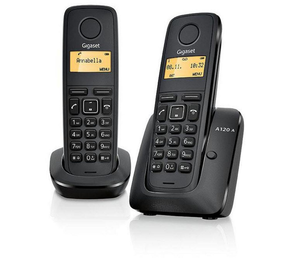 buy gigaset a120 cordless phone twin handsets free. Black Bedroom Furniture Sets. Home Design Ideas
