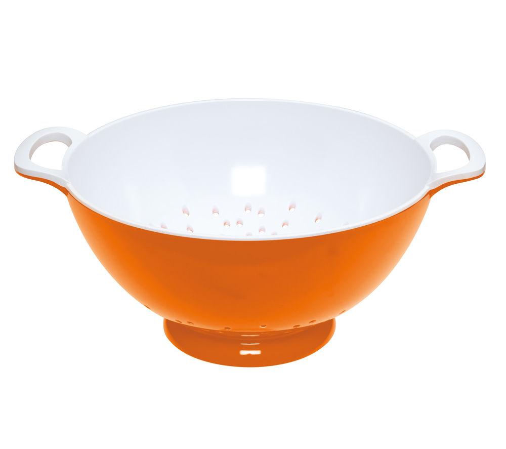 COLOURWORKS Large 24 cm Colander - Orange & White