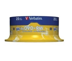 VERBATIM 4x Speed DVD+RW Blank DVDs - Pack of 25
