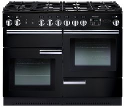 RANGEMASTER Professional+ 110 Dual Fuel Range Cooker - Black & Chrome