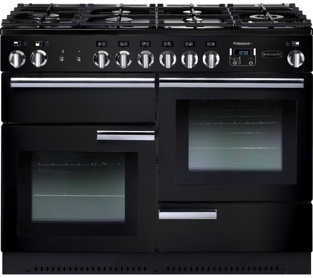 Rangemaster  Professional 110 Dual Fuel Range Cooker  Black & Chrome Black