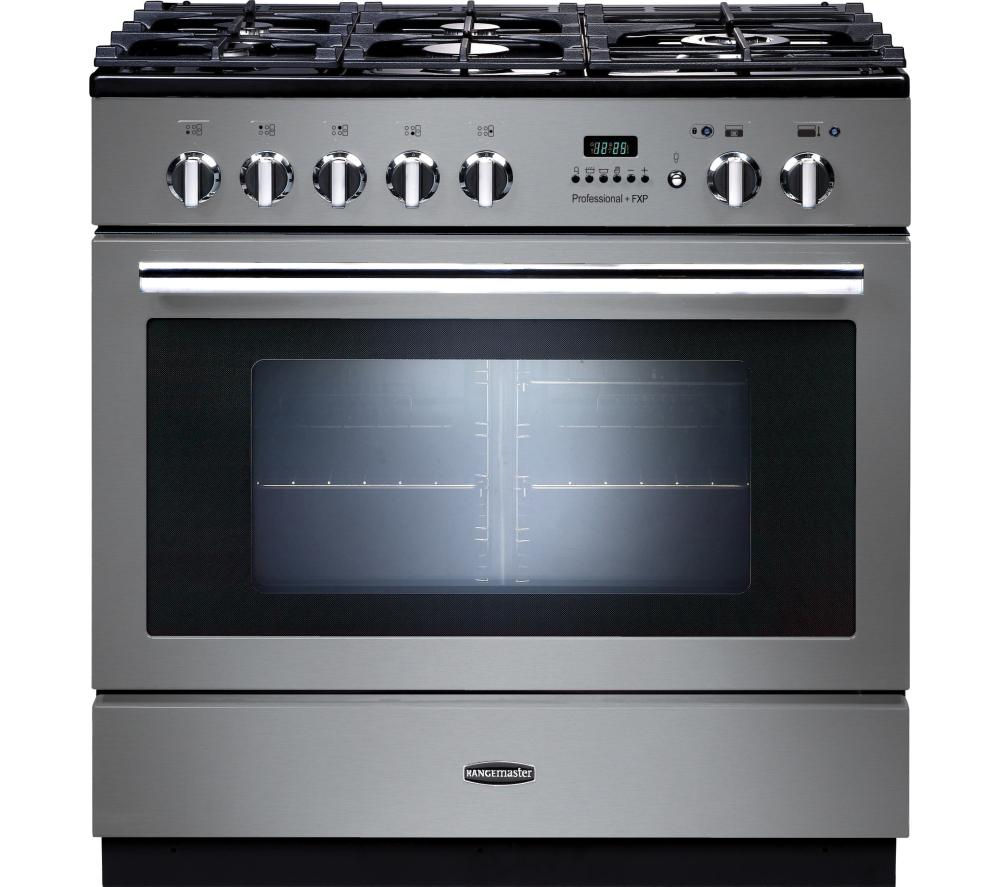 RANGEMASTER  Professional FXP 90 Dual Fuel Range Cooker  Stainless Steel & Chrome Stainless Steel