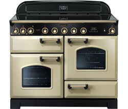 RANGEMASTER Classic Deluxe 110 Electric Induction Range Cooker - Cream & Brass