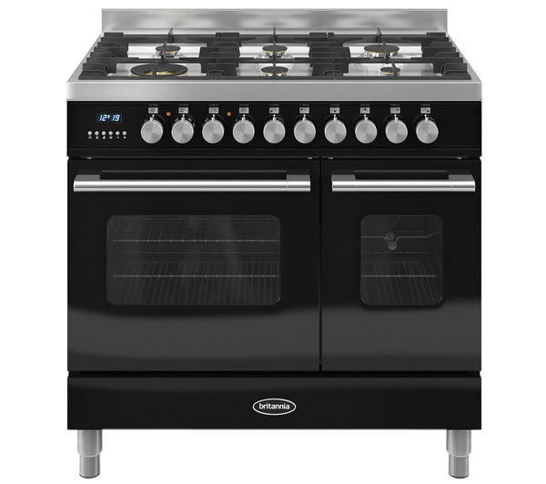 BRITANNIA Delphi 90 Twin Dual Fuel Range Cooker - Gloss Black