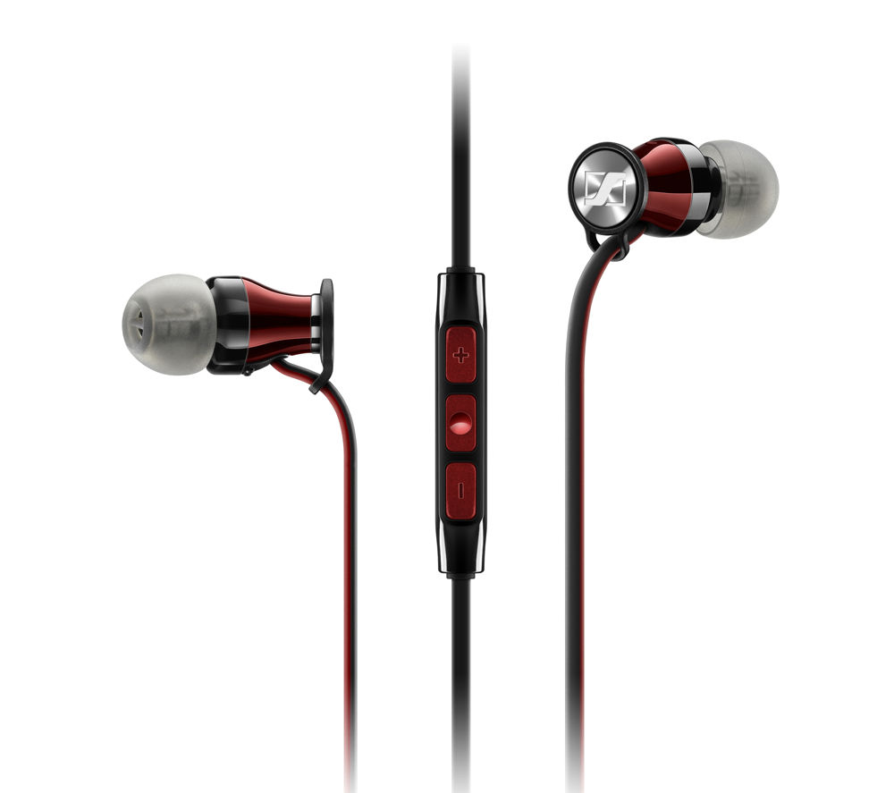 SENNHEISER Momentum 2.0 IEG Headphones - Black & Red + iPhone 7 Lightning to 3.5 mm Headphone Jack Adapter