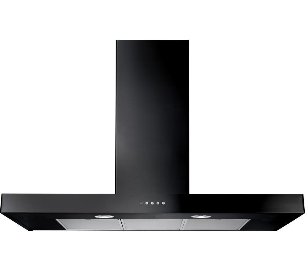 buy rangemaster flat 90 chimney cooker hood black free. Black Bedroom Furniture Sets. Home Design Ideas