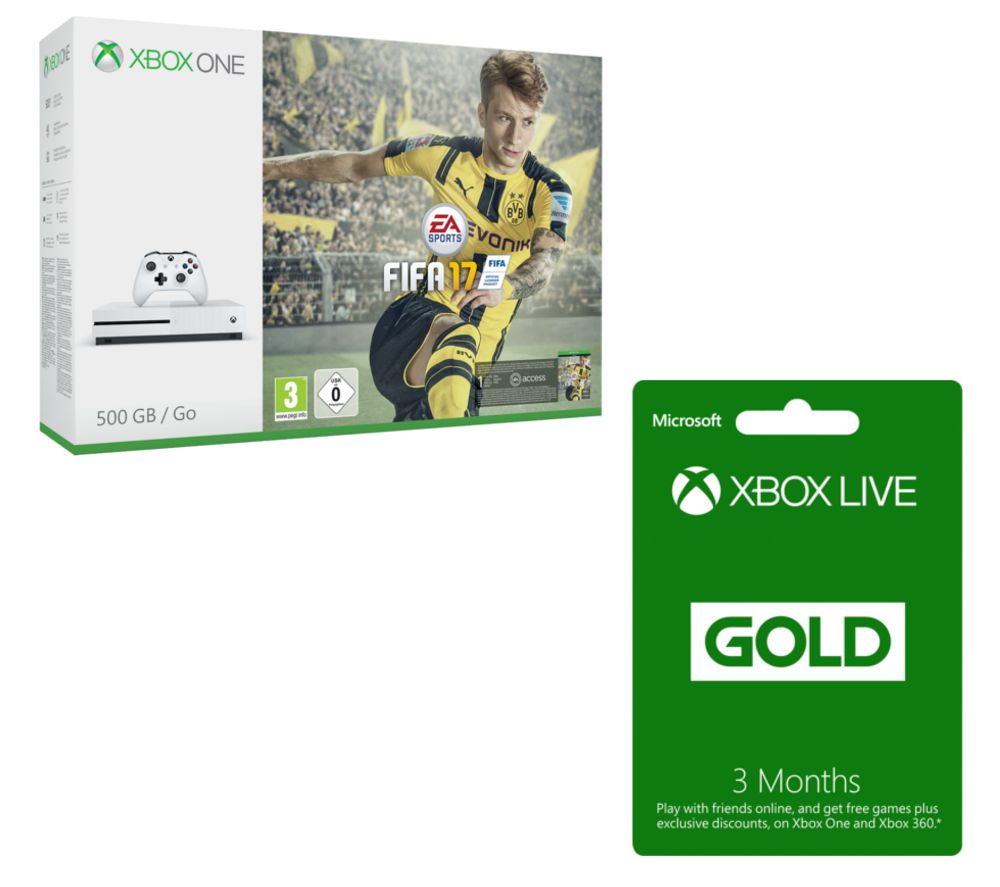 MICROSOFT  Xbox One S with FIFA 17 & 3 Month Xbox LIVE Gold Membership Bundle Gold