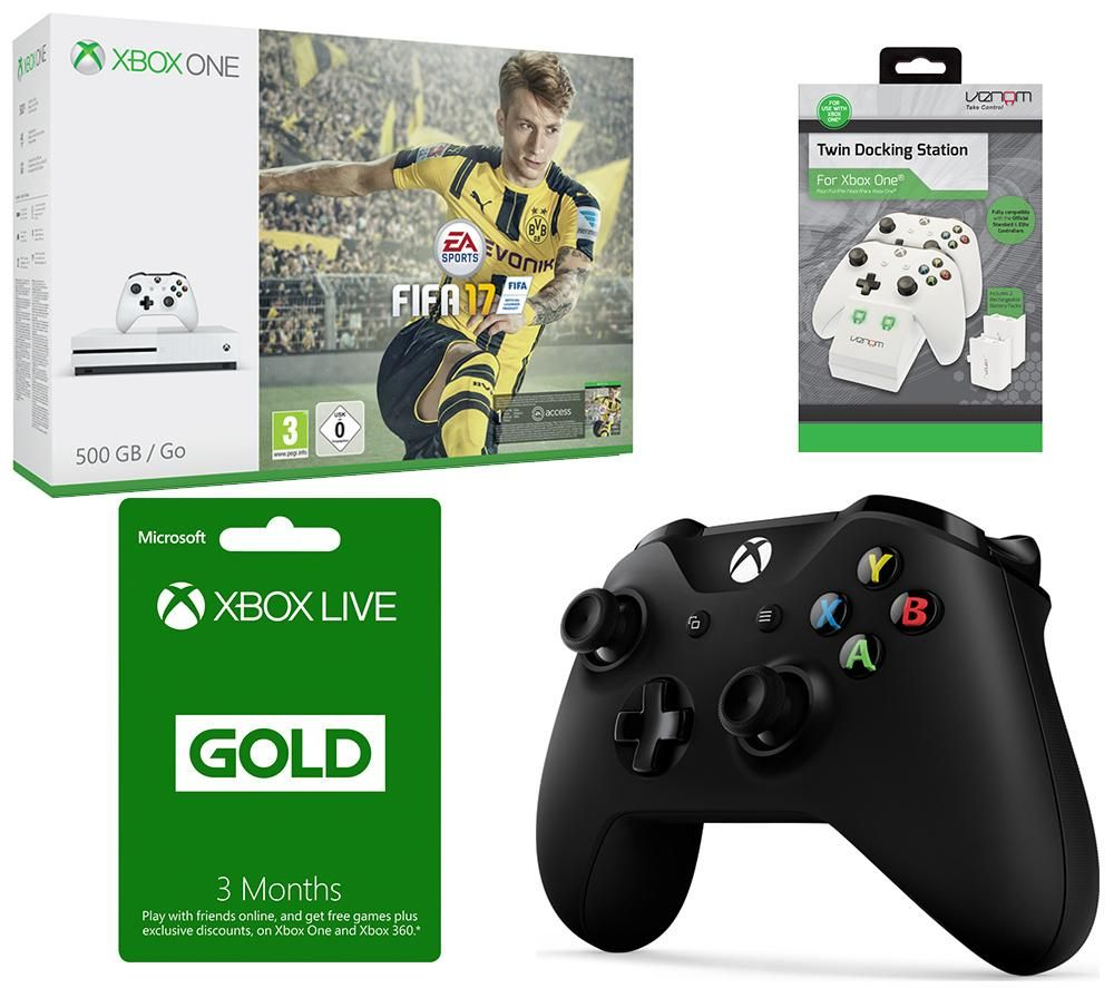MICROSOFT Xbox One S FIFA 17 3 Month Xbox LIVE Gold Membership & Accessories Bundle Gold