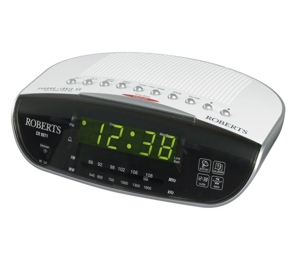 buy roberts cr9971 chronologic vi analogue clock radio silver free delivery currys. Black Bedroom Furniture Sets. Home Design Ideas