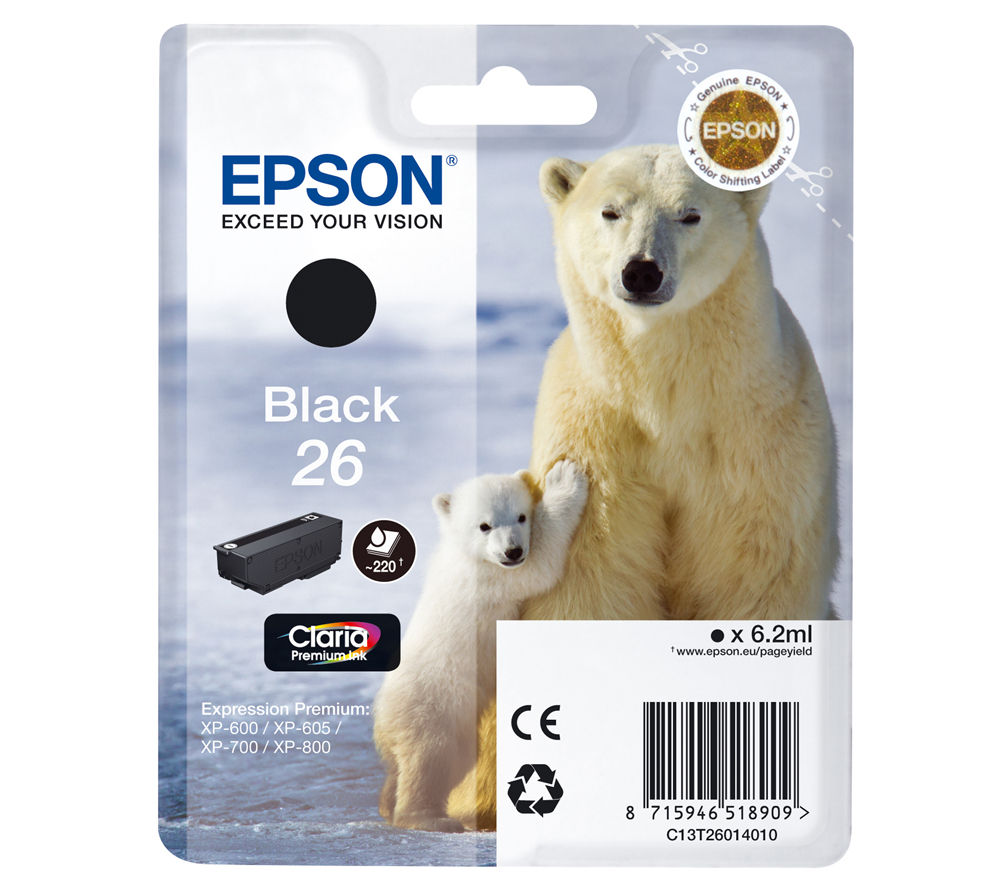 EPSON Polar Bear T2601 Black Ink Cartridge