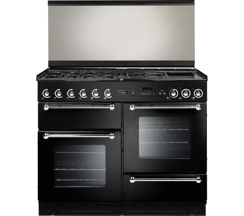 RANGEMASTER 110 Dual Fuel Range Cooker - Black & Chrome